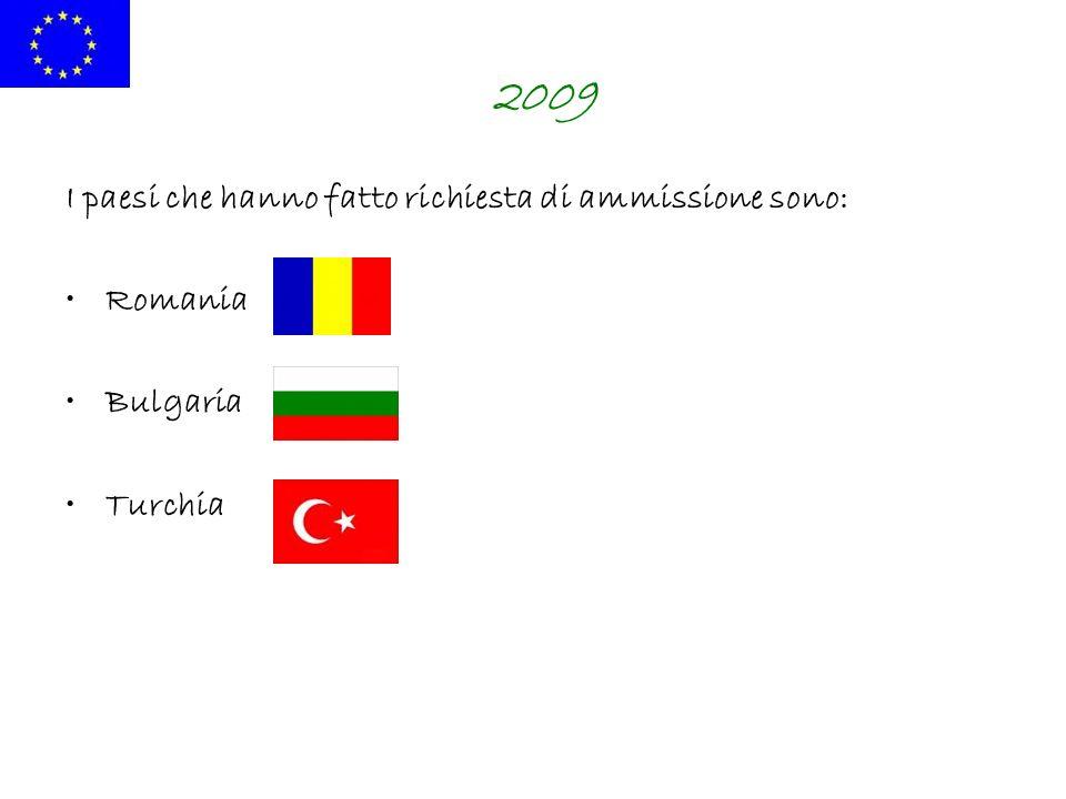 2009 I paesi che hanno fatto richiesta di ammissione sono: Romania Bulgaria Turchia