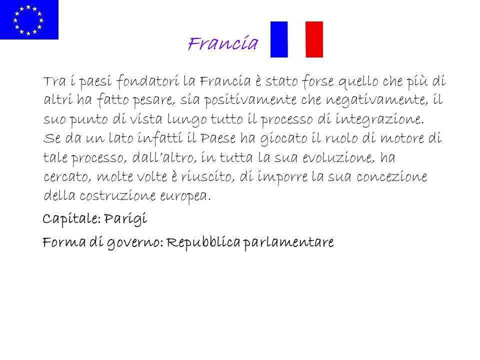 Francia Tra i paesi fondatori la Francia è stato forse quello che più di altri ha fatto pesare, sia positivamente che negativamente, il suo punto di v