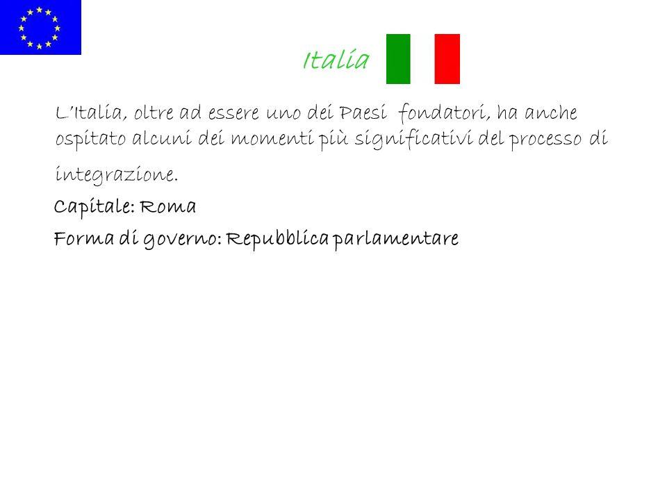 Italia LItalia, oltre ad essere uno dei Paesi fondatori, ha anche ospitato alcuni dei momenti più significativi del processo di integrazione. Capitale