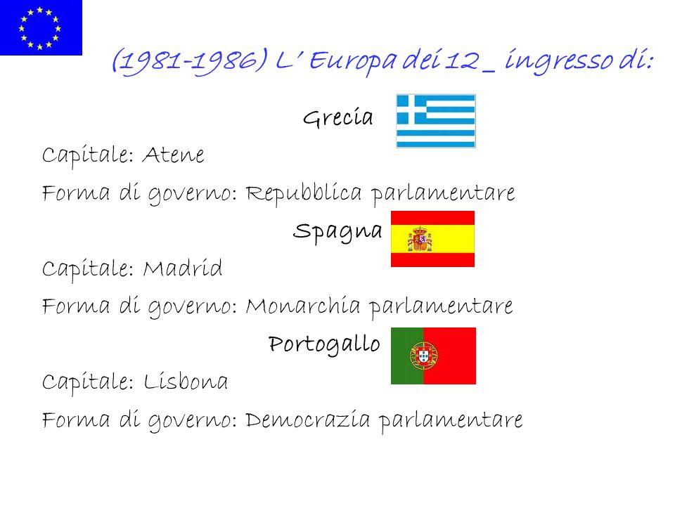(1981-1986) L Europa dei 12 _ ingresso di: Grecia Capitale: Atene Forma di governo: Repubblica parlamentare Spagna Capitale: Madrid Forma di governo: