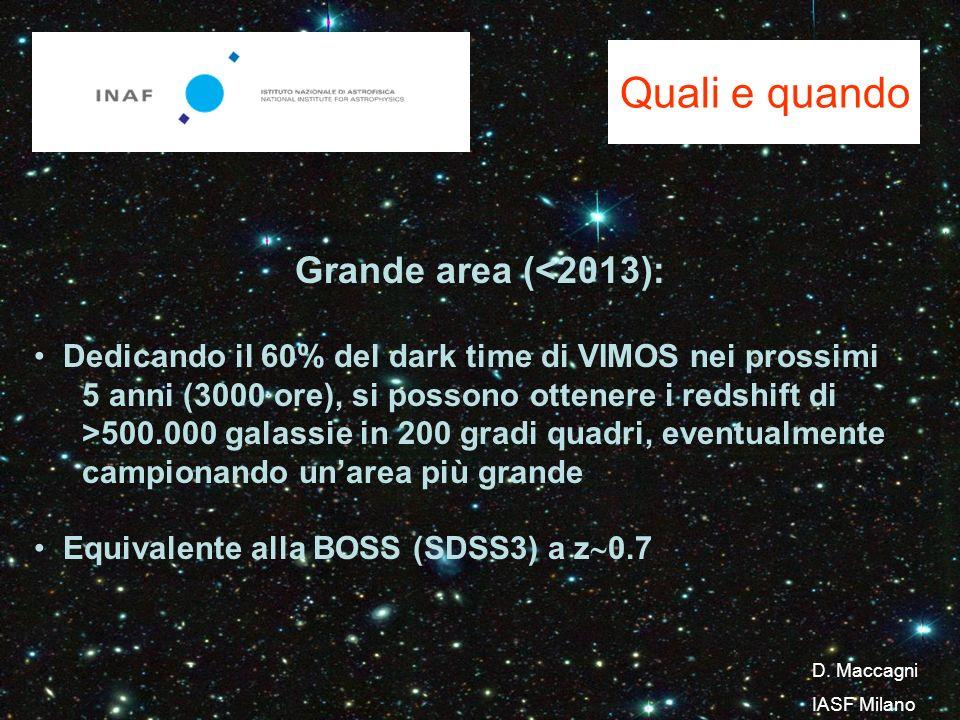 Quali e quando Grande area (<2013): Dedicando il 60% del dark time di VIMOS nei prossimi 5 anni (3000 ore), si possono ottenere i redshift di >500.000 galassie in 200 gradi quadri, eventualmente campionando unarea più grande Equivalente alla BOSS (SDSS3) a z 0.7 D.