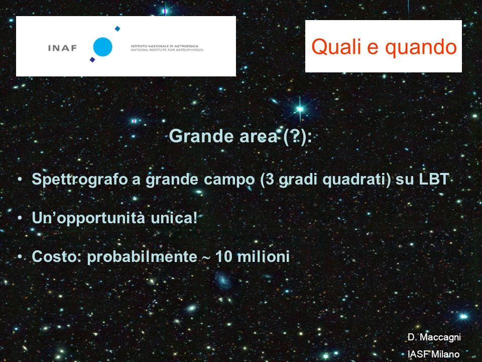Quali e quando Grande area ( ): Spettrografo a grande campo (3 gradi quadrati) su LBT Unopportunità unica.