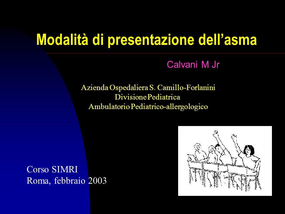 Modalità di presentazione dellasma Calvani M Jr Corso SIMRI Roma, febbraio 2003 Azienda Ospedaliera S.