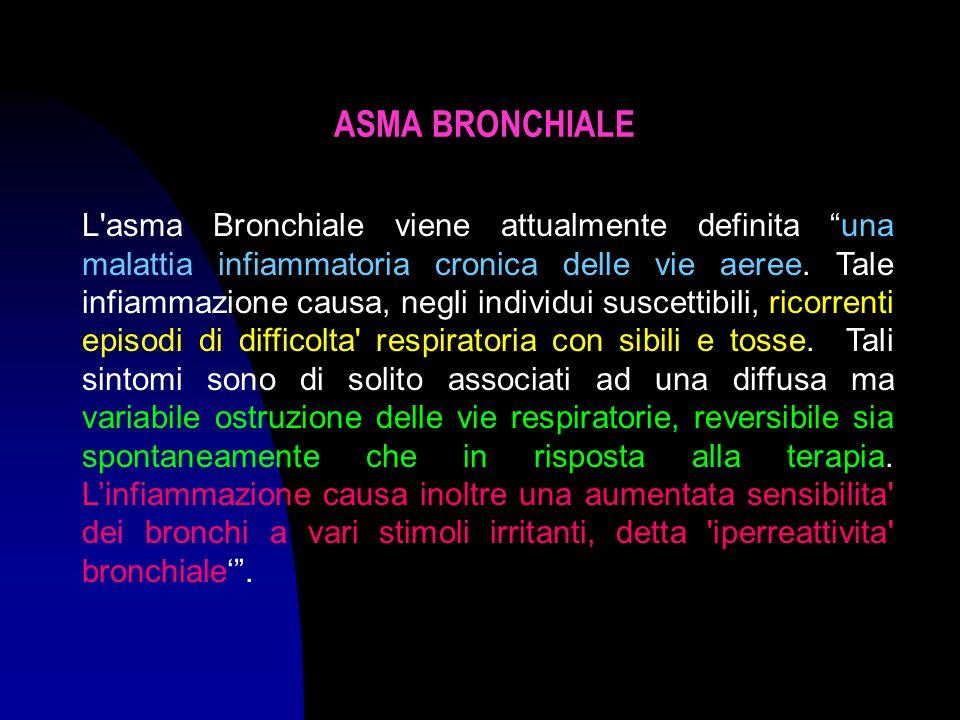 ASMA BRONCHIALE L asma Bronchiale viene attualmente definita una malattia infiammatoria cronica delle vie aeree.