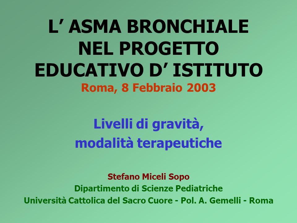 L ASMA BRONCHIALE NEL PROGETTO EDUCATIVO D ISTITUTO Roma, 8 Febbraio 2003 Livelli di gravità, modalità terapeutiche Stefano Miceli Sopo Dipartimento d