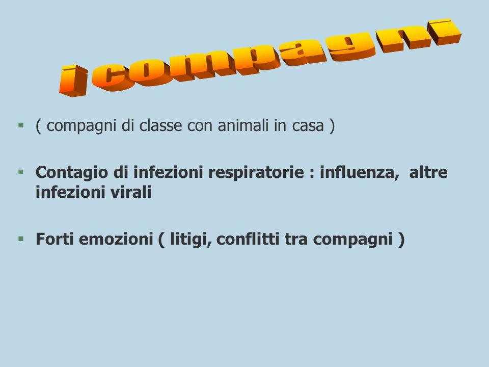 §( compagni di classe con animali in casa ) §Contagio di infezioni respiratorie : influenza, altre infezioni virali §Forti emozioni ( litigi, conflitt