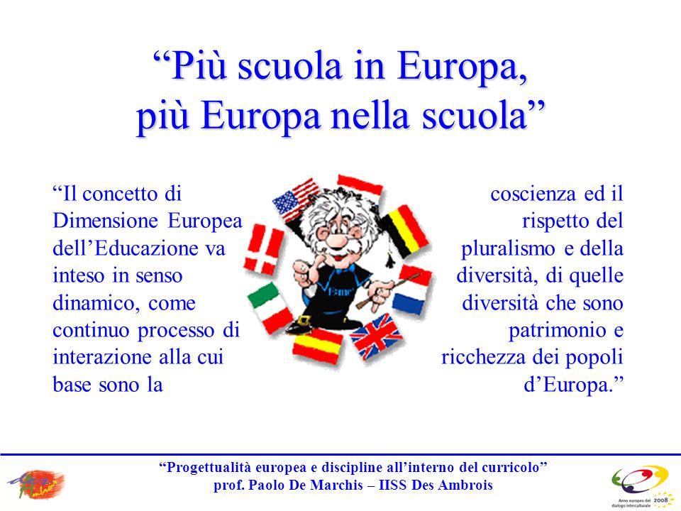 Progettualità europea e discipline allinterno del curricolo prof.