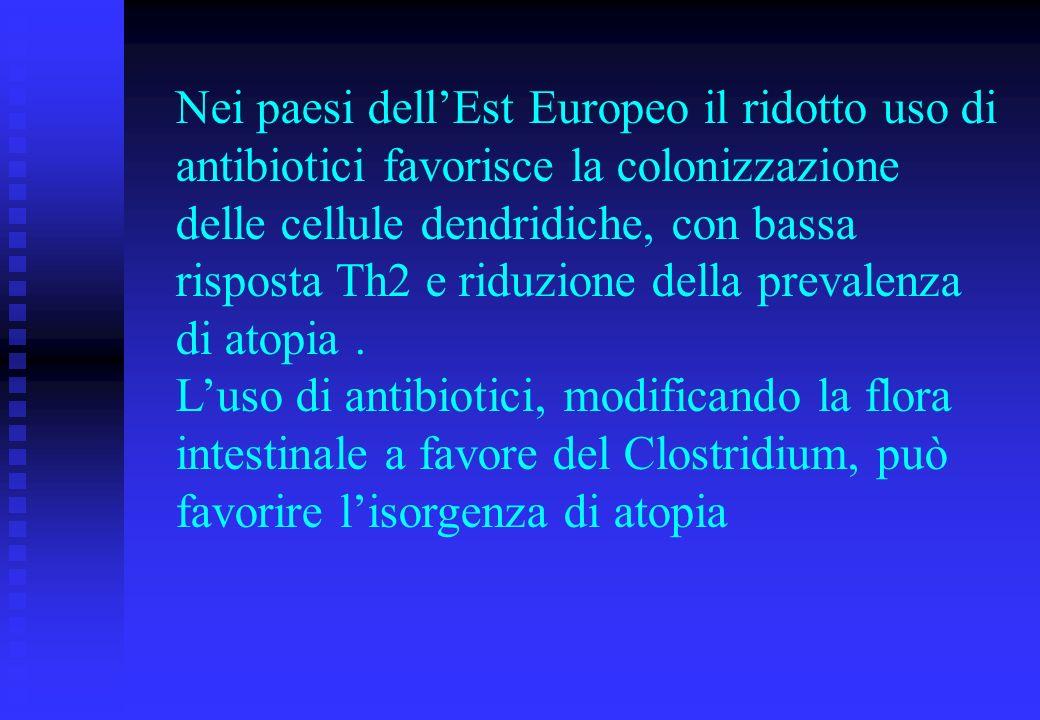Nei paesi dellEst Europeo il ridotto uso di antibiotici favorisce la colonizzazione delle cellule dendridiche, con bassa risposta Th2 e riduzione dell