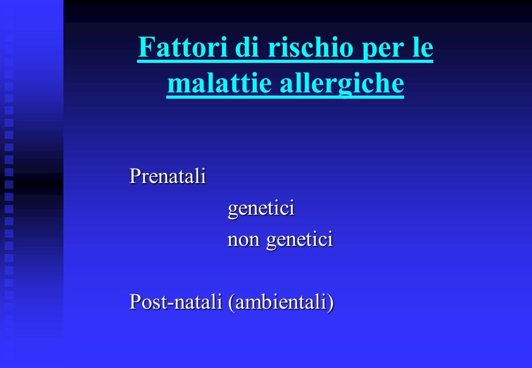 Fattori di rischio per le malattie allergiche Prenataligenetici non genetici Post-natali (ambientali)