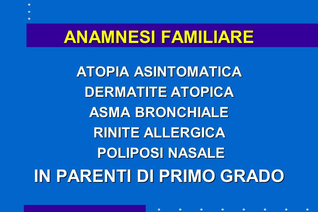 ANAMNESI FAMILIARE ATOPIA ASINTOMATICA DERMATITE ATOPICA ASMA BRONCHIALE RINITE ALLERGICA POLIPOSI NASALE POLIPOSI NASALE IN PARENTI DI PRIMO GRADO
