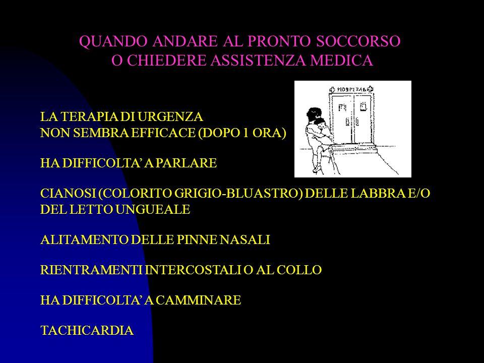 QUANDO ANDARE AL PRONTO SOCCORSO O CHIEDERE ASSISTENZA MEDICA LA TERAPIA DI URGENZA NON SEMBRA EFFICACE (DOPO 1 ORA) HA DIFFICOLTA A PARLARE CIANOSI (COLORITO GRIGIO-BLUASTRO) DELLE LABBRA E/O DEL LETTO UNGUEALE ALITAMENTO DELLE PINNE NASALI RIENTRAMENTI INTERCOSTALI O AL COLLO HA DIFFICOLTA A CAMMINARE TACHICARDIA