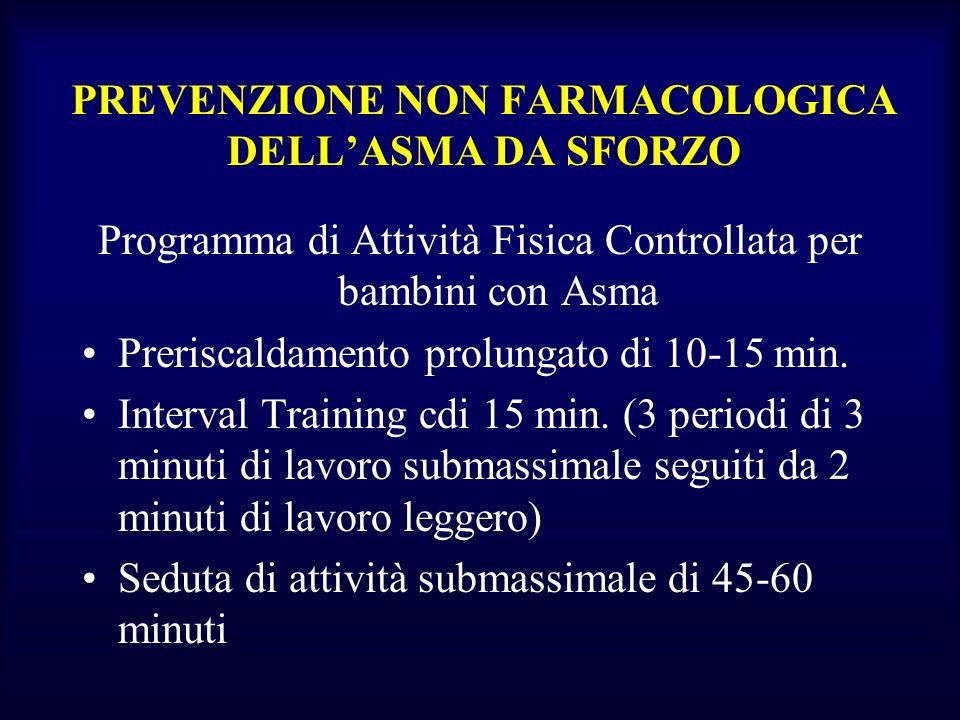PREVENZIONE NON FARMACOLOGICA DELLASMA DA SFORZO Programma di Attività Fisica Controllata per bambini con Asma Preriscaldamento prolungato di 10-15 mi