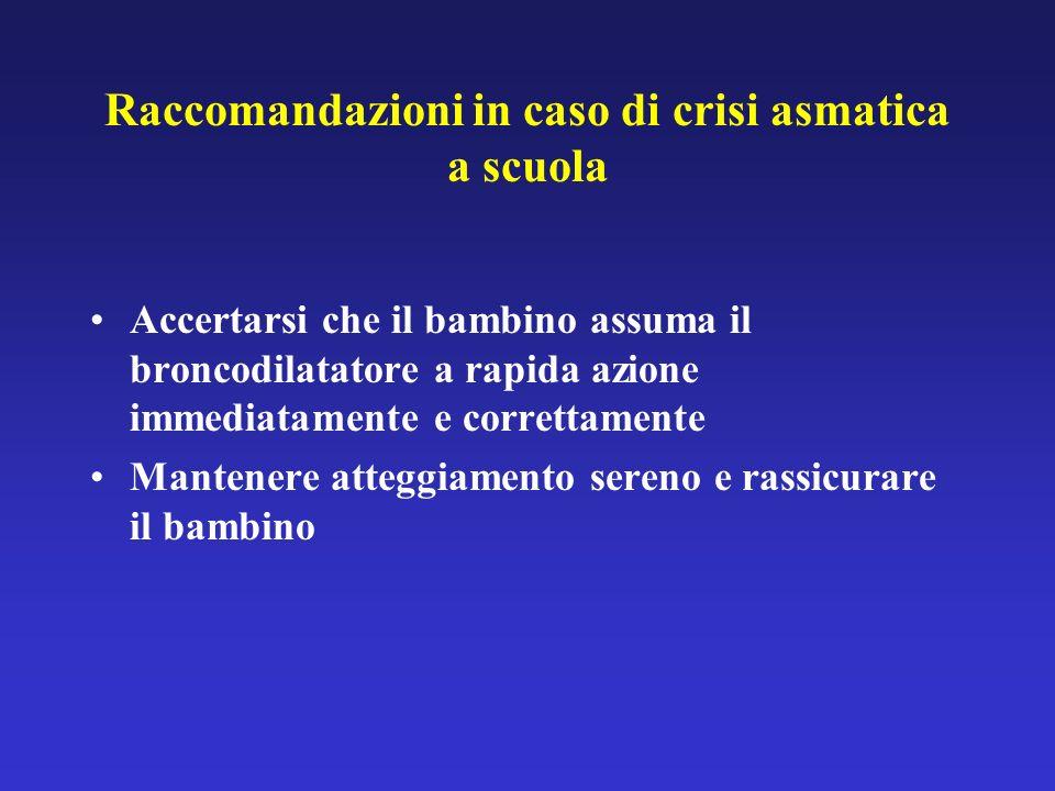 Raccomandazioni in caso di crisi asmatica a scuola Accertarsi che il bambino assuma il broncodilatatore a rapida azione immediatamente e correttamente Mantenere atteggiamento sereno e rassicurare il bambino