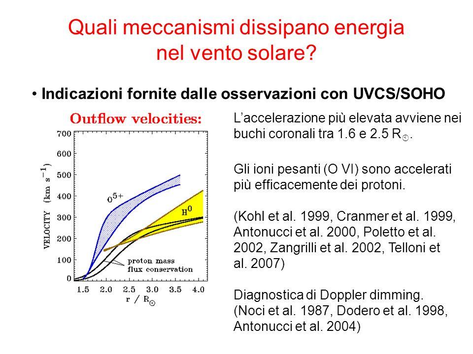 Quali meccanismi dissipano energia nel vento solare? Indicazioni fornite dalle osservazioni con UVCS/SOHO Laccelerazione più elevata avviene nei buchi