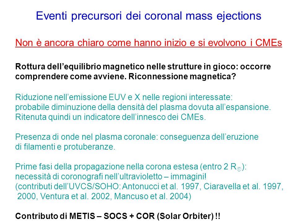 Eventi precursori dei coronal mass ejections Non è ancora chiaro come hanno inizio e si evolvono i CMEs Rottura dellequilibrio magnetico nelle struttu