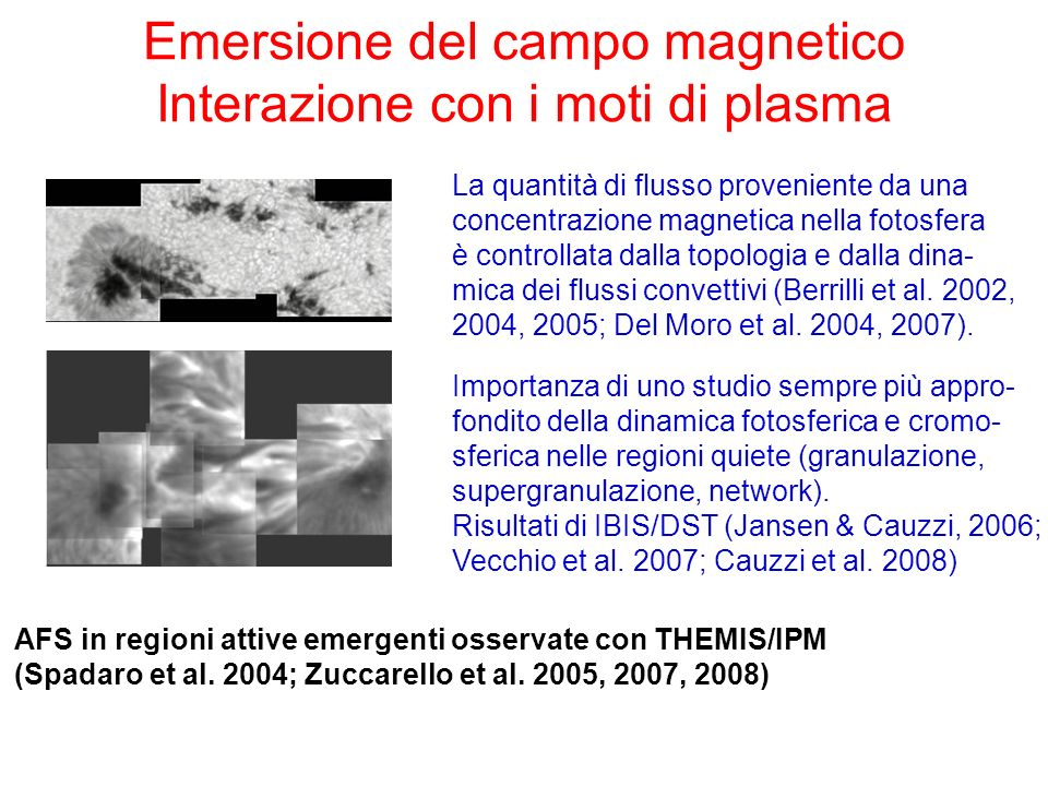 Emersione del campo magnetico Interazione con i moti di plasma AFS in regioni attive emergenti osservate con THEMIS/IPM (Spadaro et al. 2004; Zuccarel