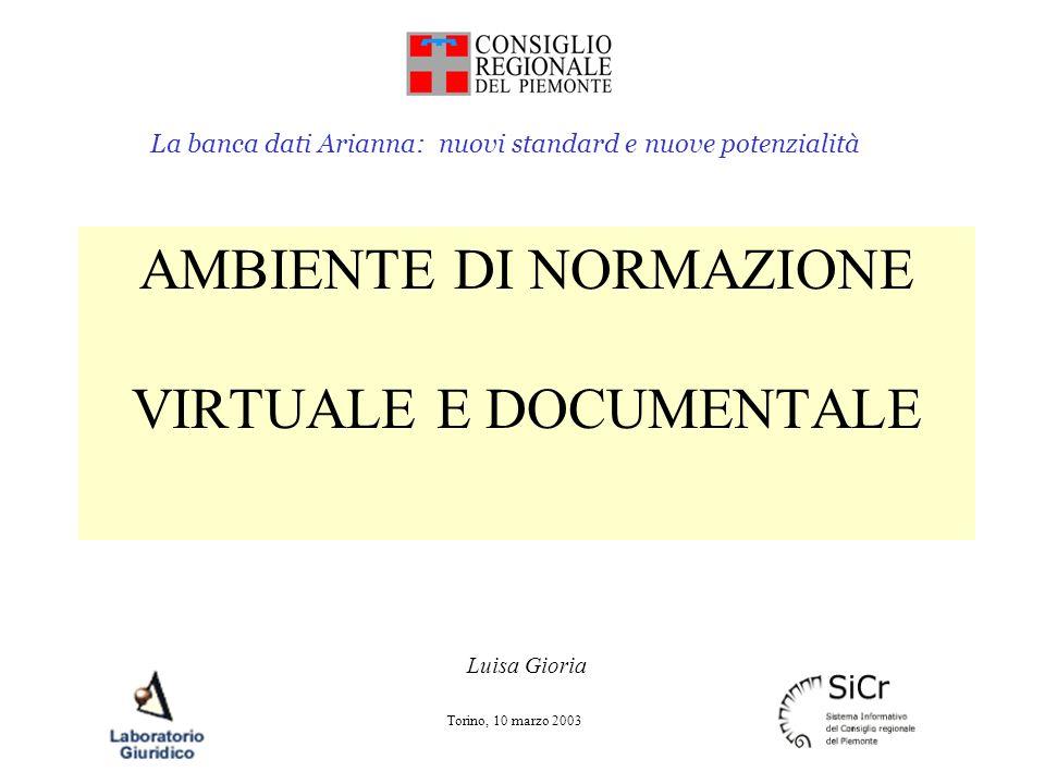 La banca dati Arianna: nuovi standard e nuove potenzialità Torino, 10 marzo 2003 AMBIENTE DI NORMAZIONE VIRTUALE E DOCUMENTALE Luisa Gioria
