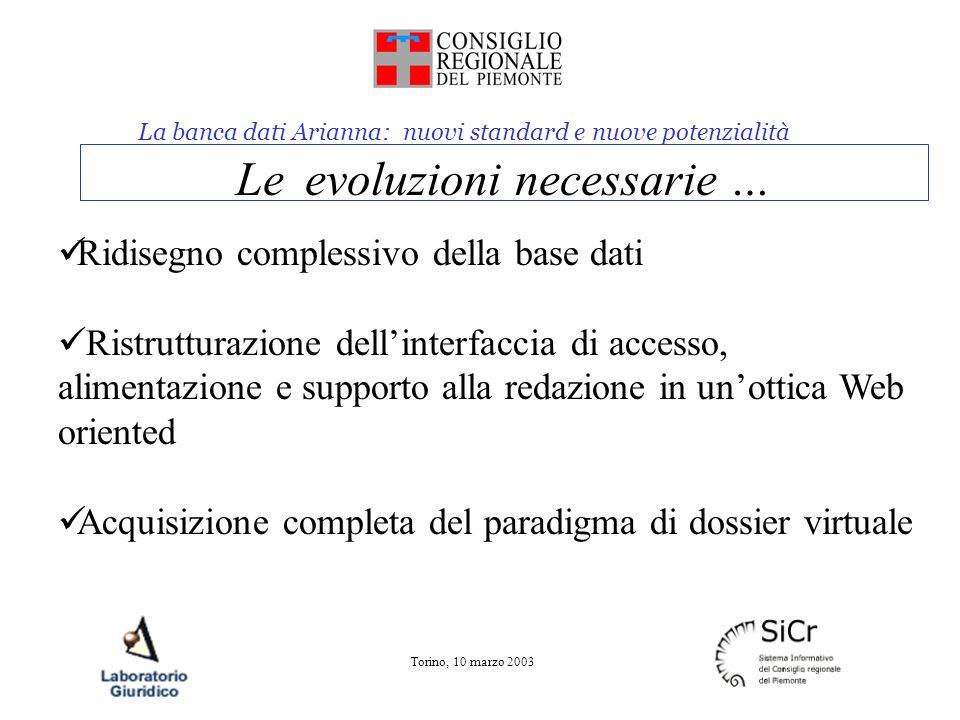 La banca dati Arianna: nuovi standard e nuove potenzialità Torino, 10 marzo 2003 Le evoluzioni necessarie … Ridisegno complessivo della base dati Rist