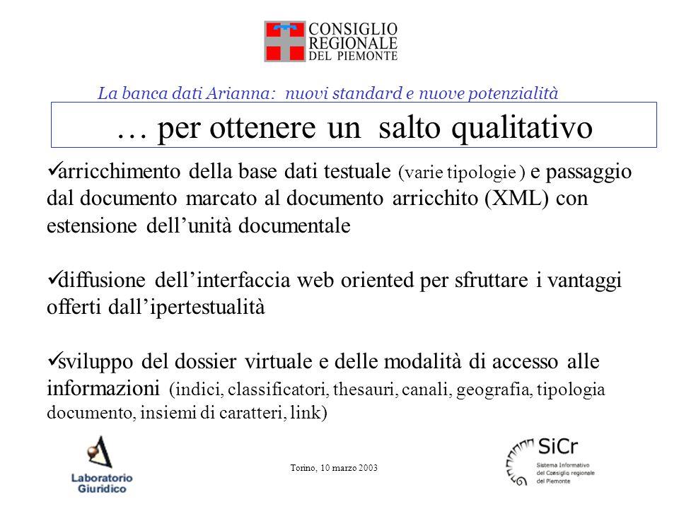 La banca dati Arianna: nuovi standard e nuove potenzialità Torino, 10 marzo 2003 … per ottenere un salto qualitativo arricchimento della base dati tes