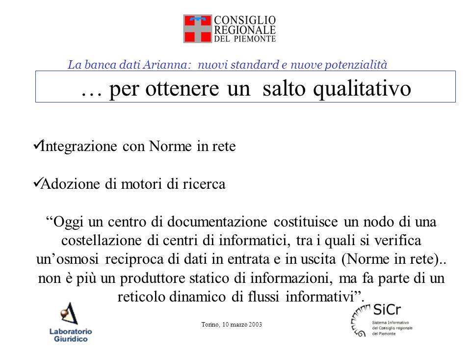 La banca dati Arianna: nuovi standard e nuove potenzialità Torino, 10 marzo 2003 … per ottenere un salto qualitativo Integrazione con Norme in rete Ad