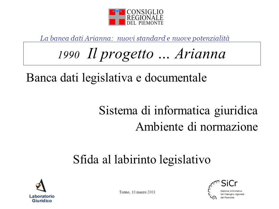 La banca dati Arianna: nuovi standard e nuove potenzialità Torino, 10 marzo 2003 1990 Il progetto … Arianna Banca dati legislativa e documentale Sistema di informatica giuridica Ambiente di normazione Sfida al labirinto legislativo