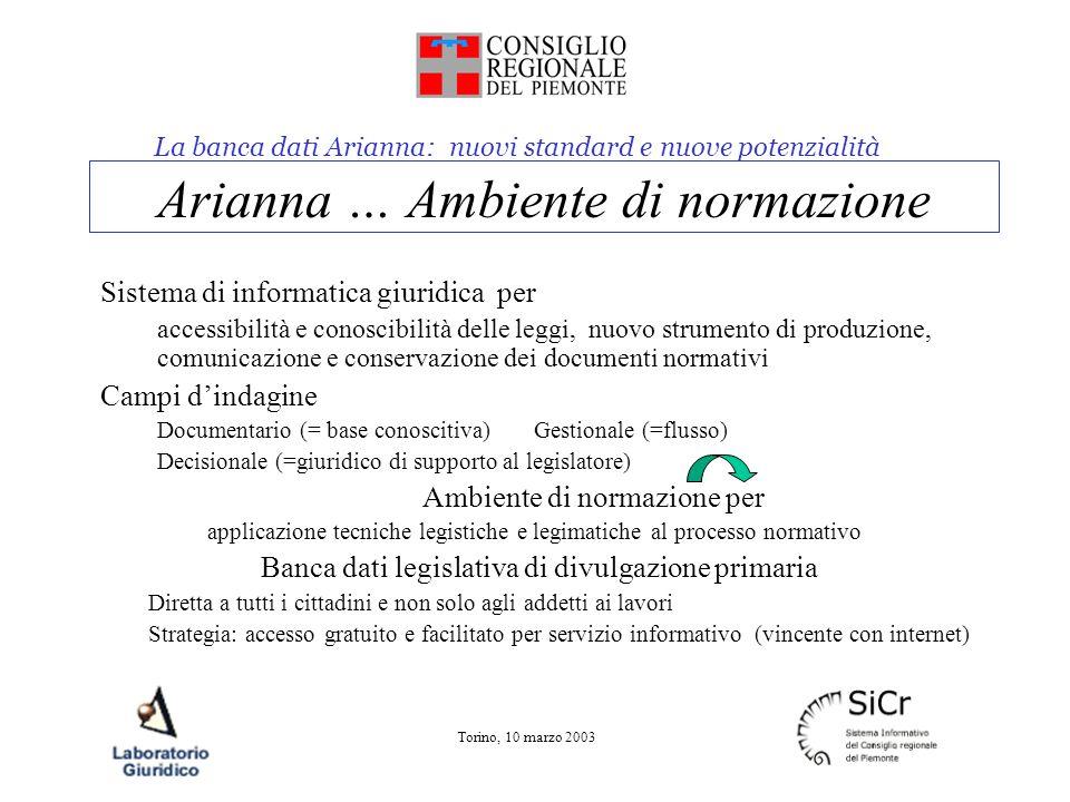 La banca dati Arianna: nuovi standard e nuove potenzialità Torino, 10 marzo 2003 Arianna … Ambiente di normazione Sistema di informatica giuridica per
