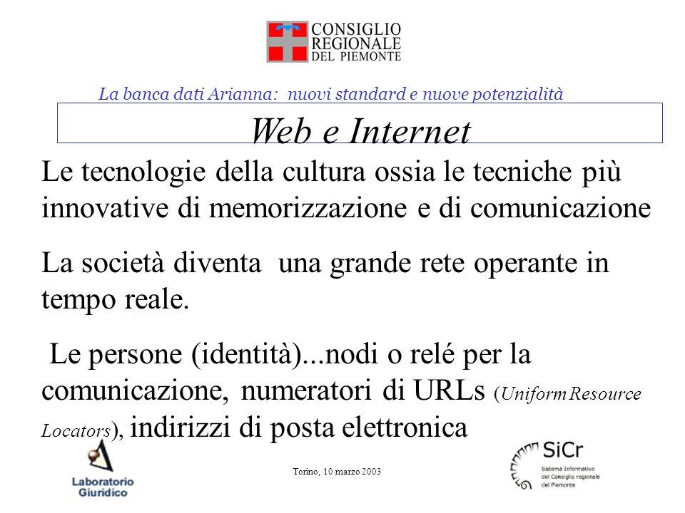 La banca dati Arianna: nuovi standard e nuove potenzialità Torino, 10 marzo 2003 Web e Internet Le tecnologie della cultura ossia le tecniche più innovative di memorizzazione e di comunicazione La società diventa una grande rete operante in tempo reale.