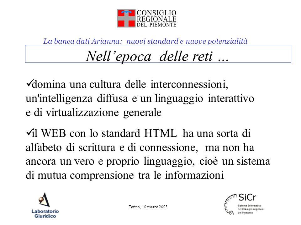 La banca dati Arianna: nuovi standard e nuove potenzialità Torino, 10 marzo 2003 Nellepoca delle reti … domina una cultura delle interconnessioni, un'
