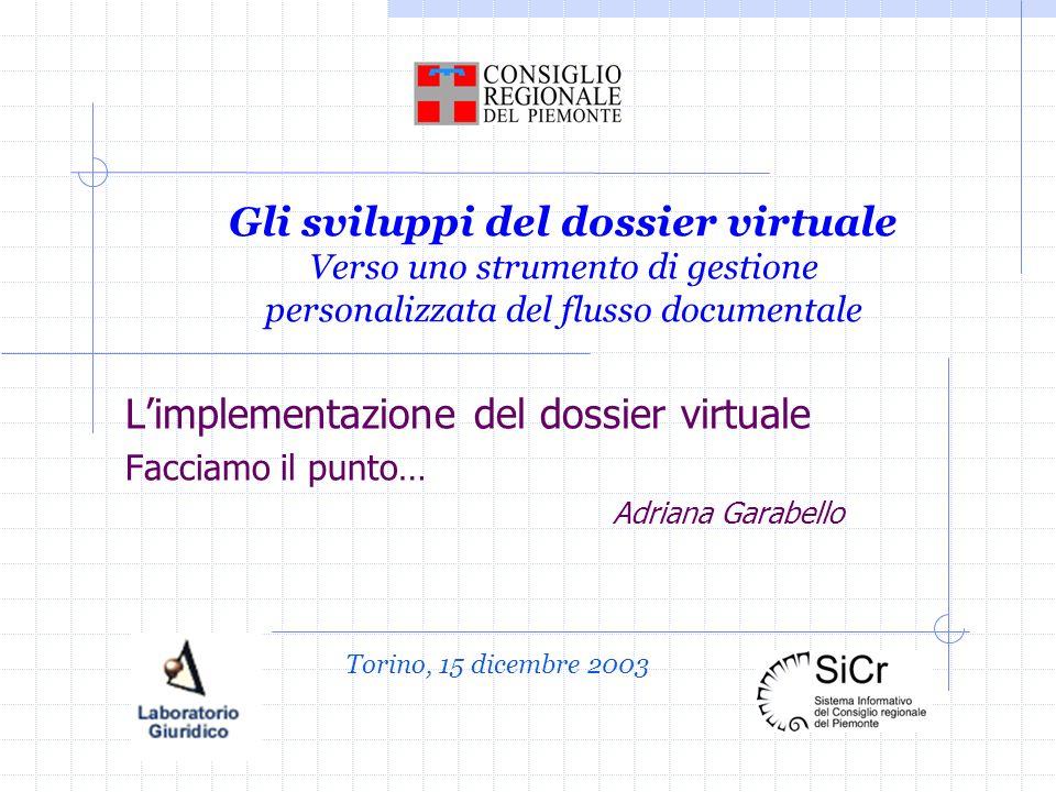 Gli sviluppi del dossier virtuale Verso uno strumento di gestione personalizzata del flusso documentale Limplementazione del dossier virtuale Facciamo il punto… Adriana Garabello Torino, 15 dicembre 2003