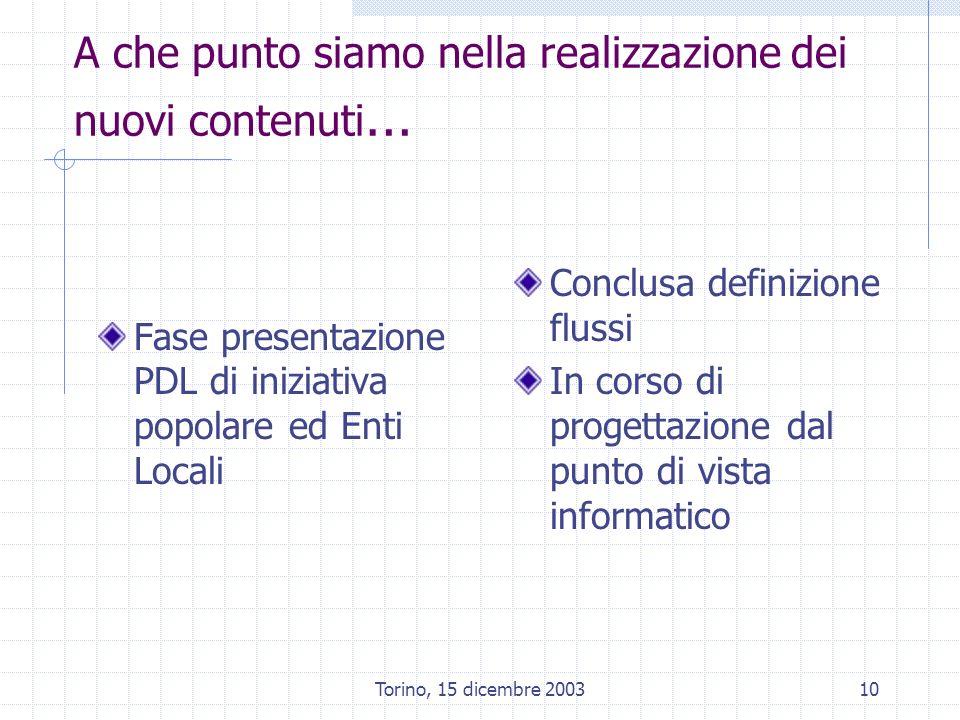 Torino, 15 dicembre 200310 A che punto siamo nella realizzazione dei nuovi contenuti … Fase presentazione PDL di iniziativa popolare ed Enti Locali Conclusa definizione flussi In corso di progettazione dal punto di vista informatico