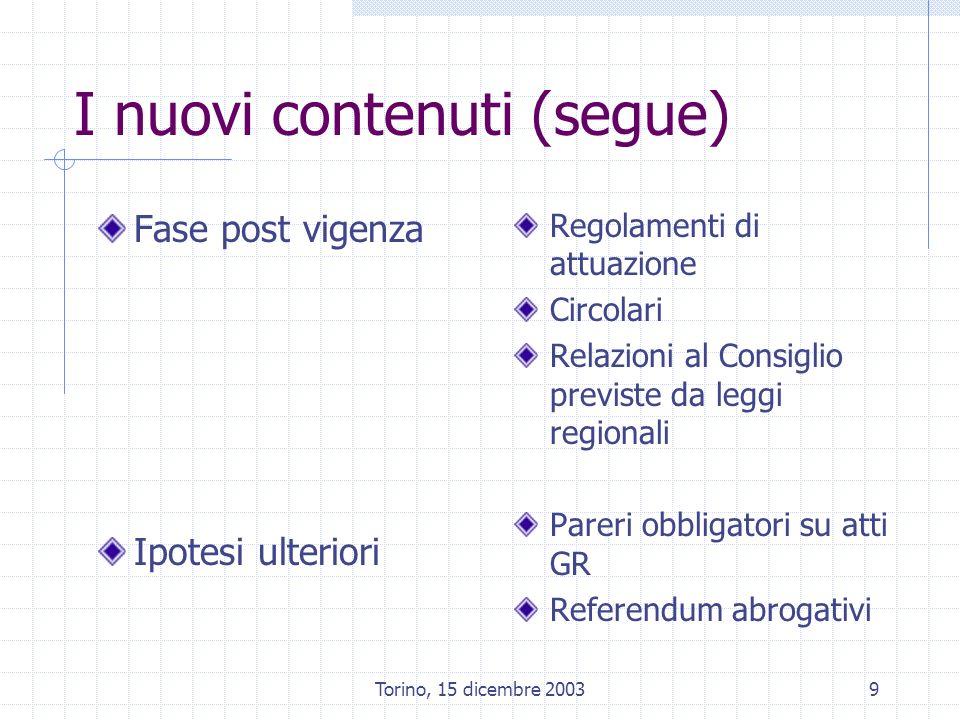 Torino, 15 dicembre 20039 I nuovi contenuti (segue) Fase post vigenza Ipotesi ulteriori Regolamenti di attuazione Circolari Relazioni al Consiglio previste da leggi regionali Pareri obbligatori su atti GR Referendum abrogativi