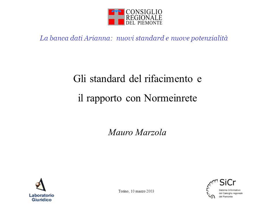 La banca dati Arianna: nuovi standard e nuove potenzialità Torino, 10 marzo 2003 Gli standard del rifacimento e il rapporto con Normeinrete Mauro Marz