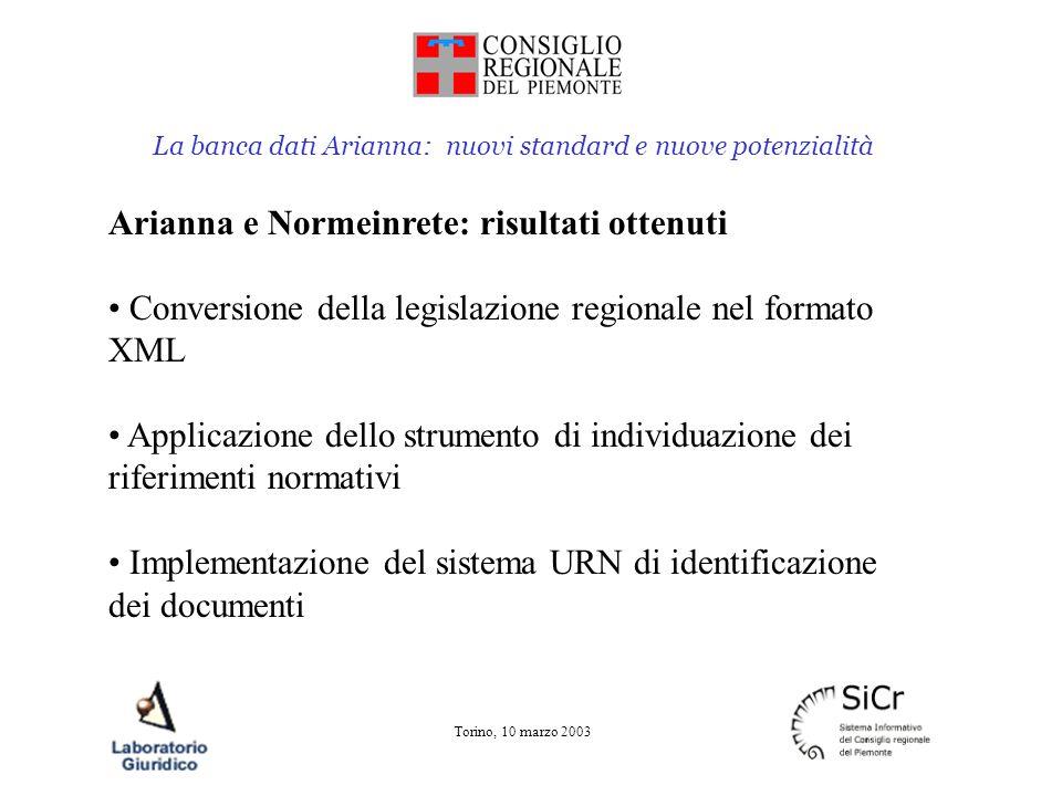 La banca dati Arianna: nuovi standard e nuove potenzialità Torino, 10 marzo 2003 Arianna e Normeinrete: risultati ottenuti Conversione della legislazi