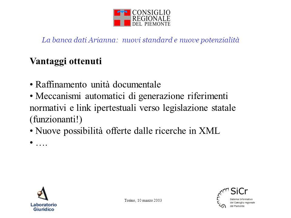 La banca dati Arianna: nuovi standard e nuove potenzialità Torino, 10 marzo 2003 Vantaggi ottenuti Raffinamento unità documentale Meccanismi automatic