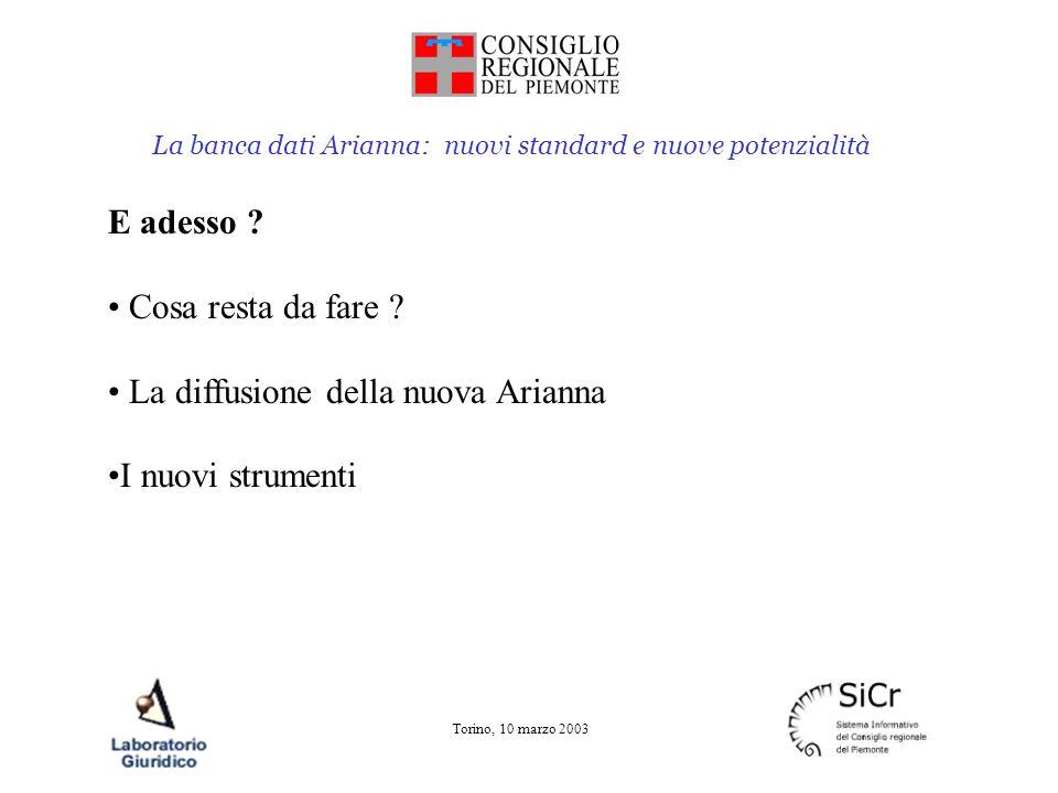 La banca dati Arianna: nuovi standard e nuove potenzialità Torino, 10 marzo 2003 E adesso ? Cosa resta da fare ? La diffusione della nuova Arianna I n
