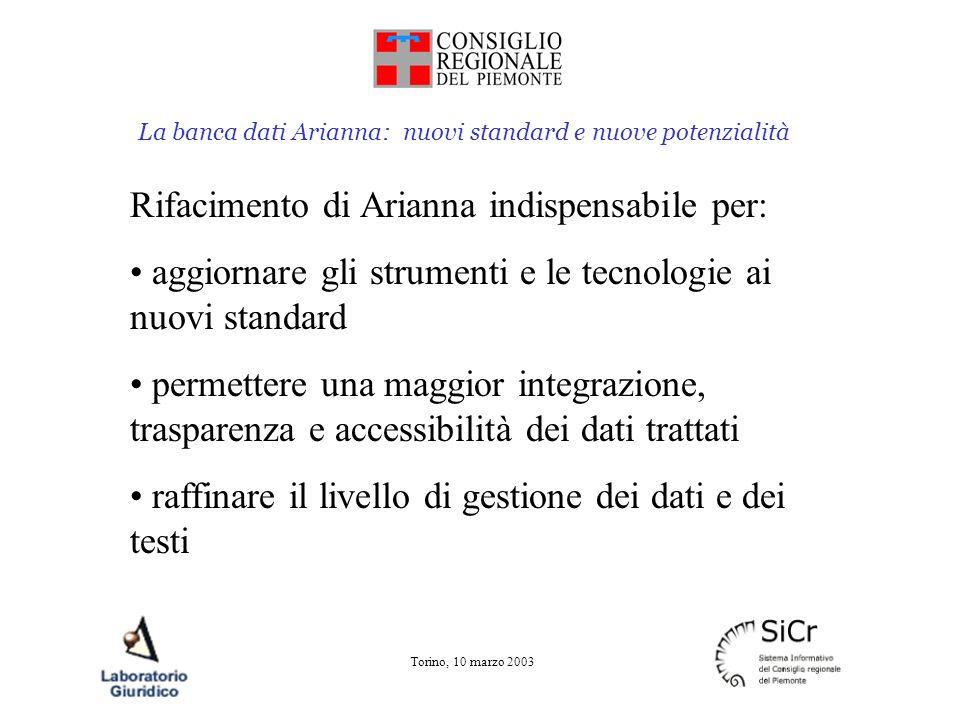 La banca dati Arianna: nuovi standard e nuove potenzialità Torino, 10 marzo 2003 Rifacimento di Arianna indispensabile per: aggiornare gli strumenti e