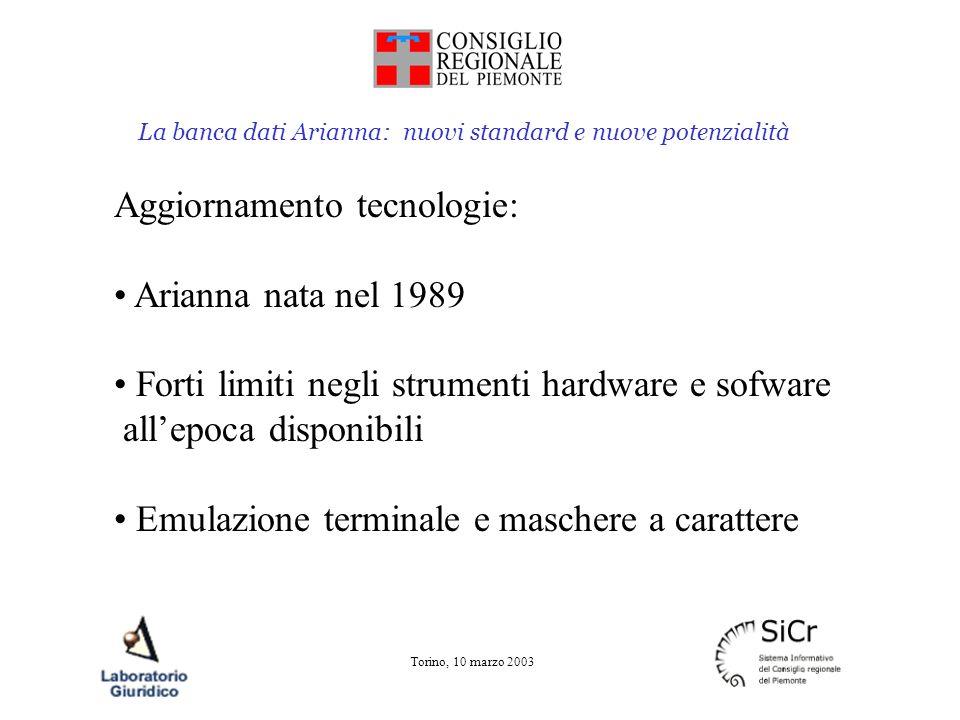 La banca dati Arianna: nuovi standard e nuove potenzialità Torino, 10 marzo 2003 Aggiornamento tecnologie: Arianna nata nel 1989 Forti limiti negli st