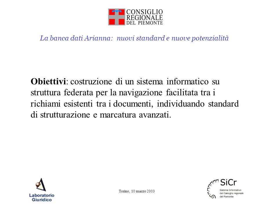 La banca dati Arianna: nuovi standard e nuove potenzialità Torino, 10 marzo 2003 Gruppi attualmente in attività: Software applicativo XML Uniform Resource Name Document Type Definition Gruppo metainformazione (attualmente non attivo)