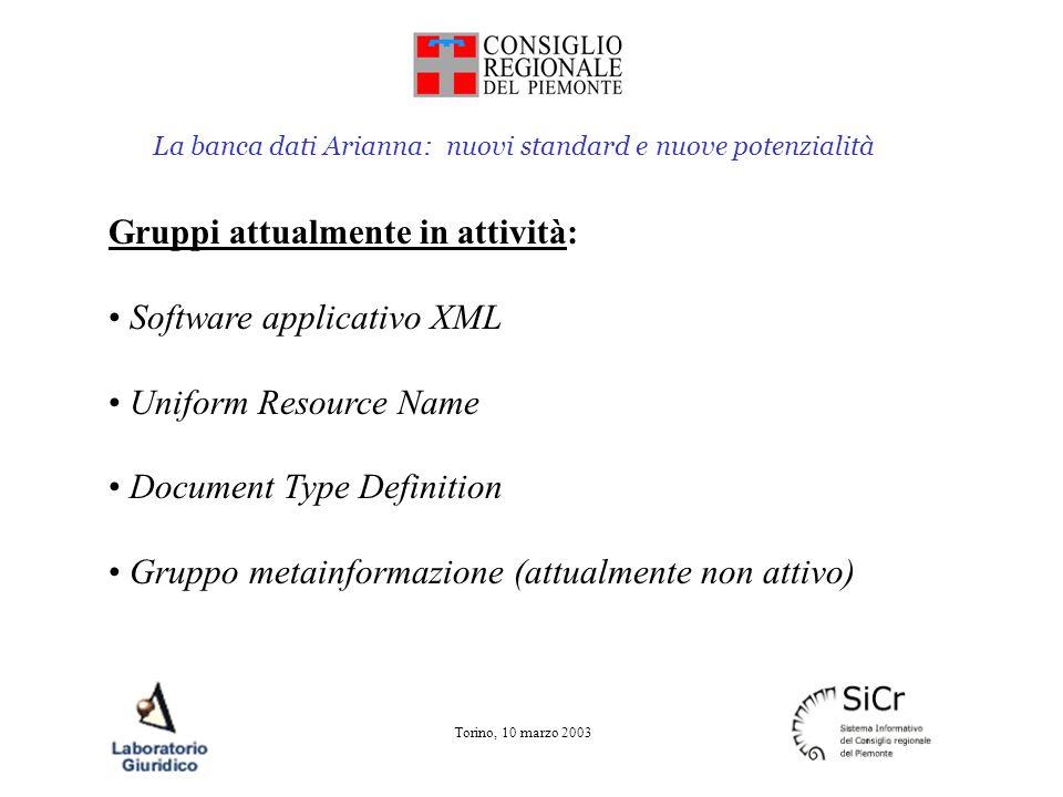 La banca dati Arianna: nuovi standard e nuove potenzialità Torino, 10 marzo 2003 Gruppi attualmente in attività: Software applicativo XML Uniform Reso