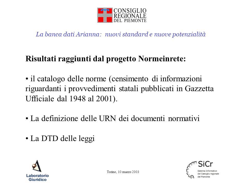 La banca dati Arianna: nuovi standard e nuove potenzialità Torino, 10 marzo 2003 Arianna e Normeinrete: attualmente Arianna costituisce uno dei più avanzati esempi di applicazione degli standard definiti dal progetto piena adozione della DTD, dello strumento XML, della struttura URN