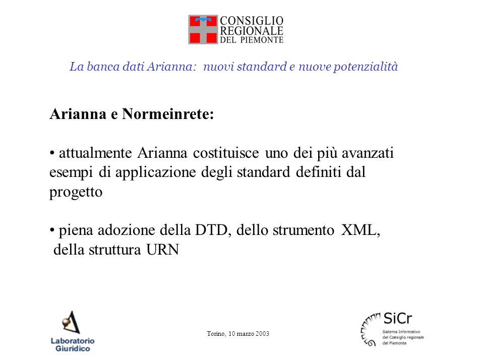 La banca dati Arianna: nuovi standard e nuove potenzialità Torino, 10 marzo 2003 Arianna e Normeinrete: risultati ottenuti Conversione della legislazione regionale nel formato XML Applicazione dello strumento di individuazione dei riferimenti normativi Implementazione del sistema URN di identificazione dei documenti