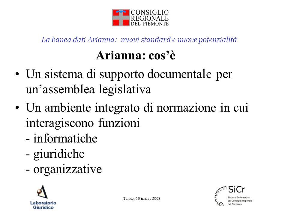 La banca dati Arianna: nuovi standard e nuove potenzialità Torino, 10 marzo 2003 Arianna: cosè Un sistema di supporto documentale per unassemblea legislativa Un ambiente integrato di normazione in cui interagiscono funzioni - informatiche - giuridiche - organizzative