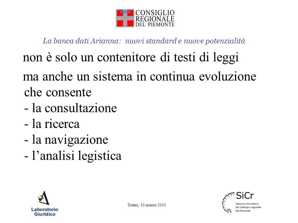La banca dati Arianna: nuovi standard e nuove potenzialità Torino, 10 marzo 2003 Contiene Leggi e regolamenti Progetti di legge Relazioni Dati di iter Indicatori giuridici
