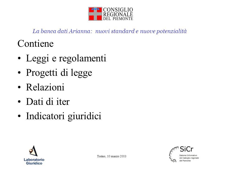 La banca dati Arianna: nuovi standard e nuove potenzialità Torino, 10 marzo 2003 permette analisi di impatto ex ante ed ex post la generazione del dossier virtuale la ricostruzione della catena normativa la creazione di testi vigenti della normativa regionale