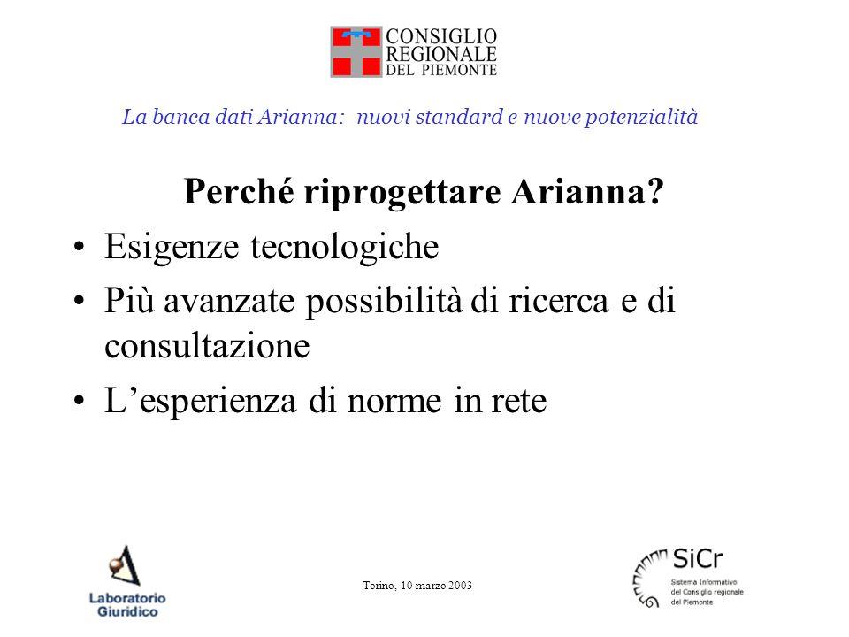 La banca dati Arianna: nuovi standard e nuove potenzialità Torino, 10 marzo 2003 Riprogettazione di Arianna Lo studio di fattibilità (giugno 2001) Tre anni di lavoro Lo scambio di esperienze e di metodologie allinterno del progetto norme in rete