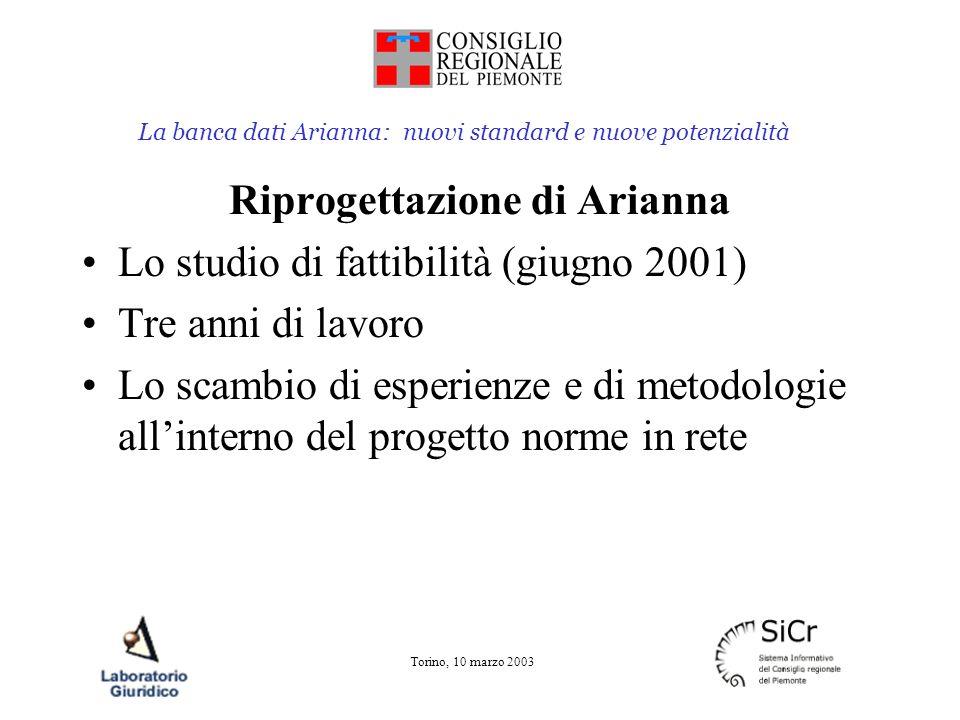 La banca dati Arianna: nuovi standard e nuove potenzialità Torino, 10 marzo 2003 Oggi vogliamo cominciare a parlare di questa riprogettazione Di cosa cambierà in Arianna e quindi nel nostro modo di lavorare con Arianna Ma soprattutto dei vantaggi che ne avremo