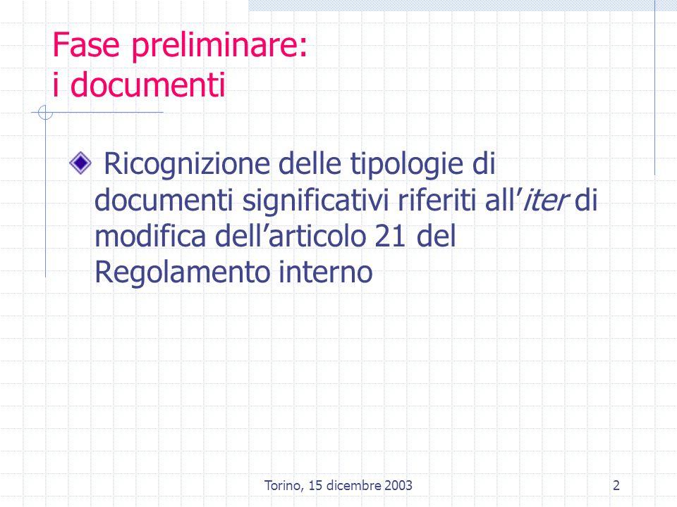 2 Fase preliminare: i documenti Ricognizione delle tipologie di documenti significativi riferiti alliter di modifica dellarticolo 21 del Regolamento i