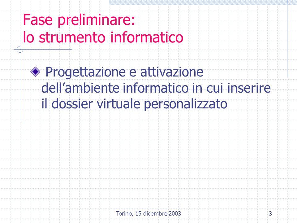Torino, 15 dicembre 20033 Fase preliminare: lo strumento informatico Progettazione e attivazione dellambiente informatico in cui inserire il dossier v