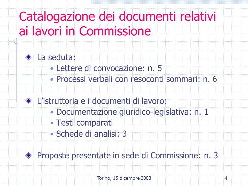 Torino, 15 dicembre 20034 Catalogazione dei documenti relativi ai lavori in Commissione La seduta: Lettere di convocazione: n. 5 Processi verbali con