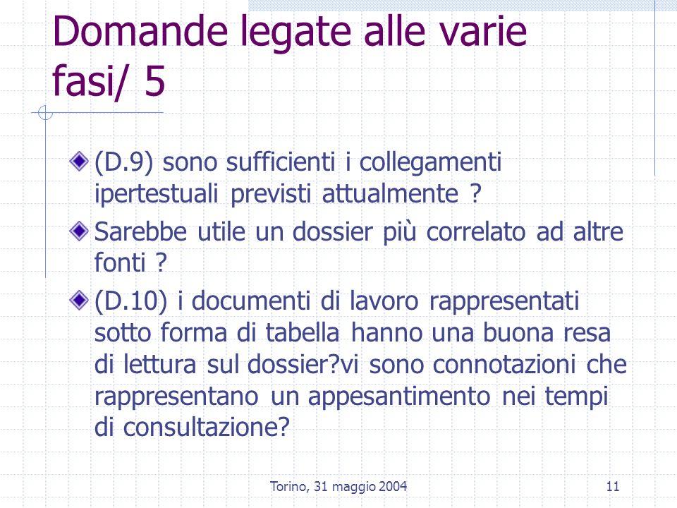 Torino, 31 maggio 200411 Domande legate alle varie fasi/ 5 (D.9) sono sufficienti i collegamenti ipertestuali previsti attualmente .